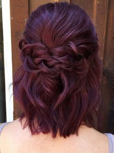 Medium Length Shoulder Touch Deep Purple Hair