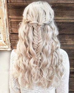 Hair waterfall with braid ashes