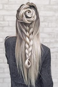 Unique wedding waterfall braid
