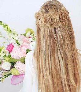 Braided flower waterfall hairstyle